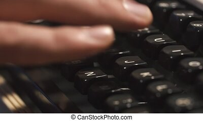 Man's Fingers Typing The Old Metal Typewriter, Retro Style....