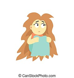 Sad Girl With Bushy Hair Sitting Feeling Blue, Part Of Depressed Female Cartoon Characters Series