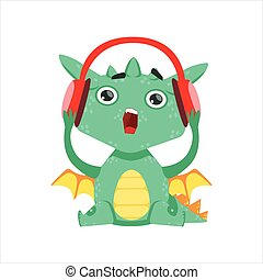 Little Anime Style Baby Dragon Listening To Music With...
