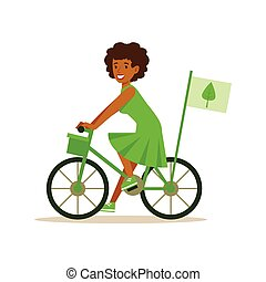 Woman On Bicycle Using Green Transportation , Contributing Into Environment Preservation By Using Eco-Friendly Ways Illustration