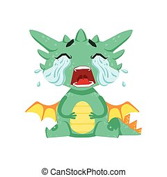 Little Anime Style Baby Dragon Crying Out Loud With Streams...