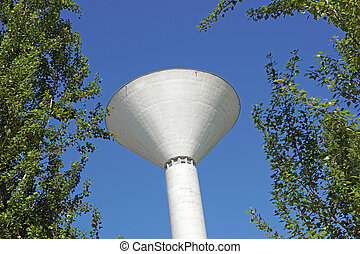 White Water Tower with rings on the neck - ready to install cellular antennas.
