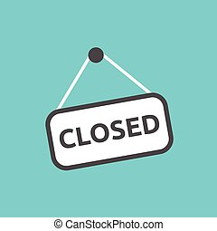 Closed sign hanging on nail isolated on blue wall...