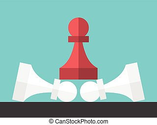 Red winner pawn standing on white lying defeated ones....