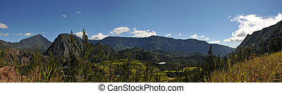 Large View of Salazie Cirque of Reunion Island with blue sky