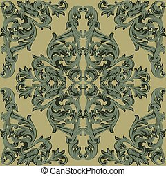 Vintage Baroque damask floral pattern acanthus Imperial style. Vector decor background. Luxury Classic ornament. Royal Victorian texture for wallpapers, textile, fabric. Green color