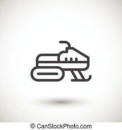 Snowmobile line icon isolated on grey. Vector illustration