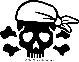Pirate skull with bones and headscarf