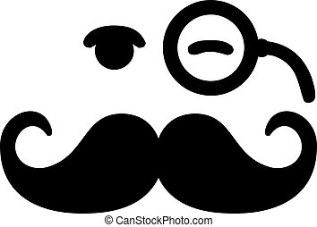 Mustache with blinking eye and monocle