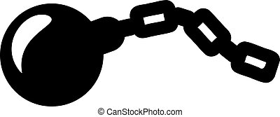 Shackle with iron ball pictogram
