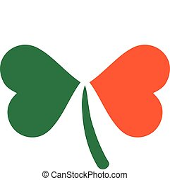 Three color clover in irish flag colors