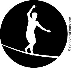 Slackline silhouette in black circle