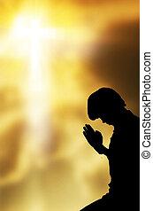 piękny, modlący się, niebo, tło, Człowiek