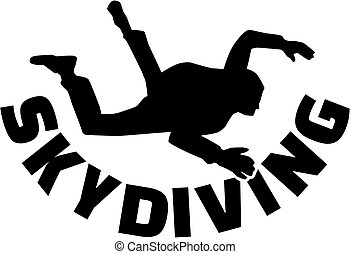 Skydiver with skydiving word