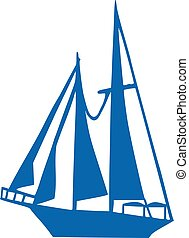 Sailboat with four sails
