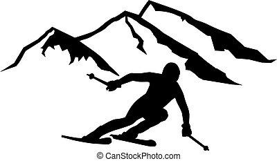 Ski Run Mountains Background