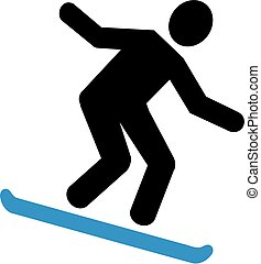 Snowboarding downhill pictogram