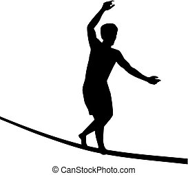 Slacklining man on wire