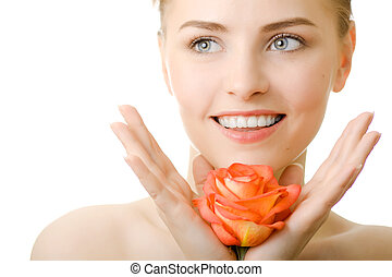 beautiful smile woman with rose isolated
