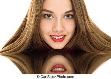 beautiful woman reflection mirror smile isolated