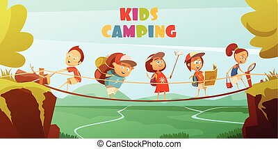 Camping Kids Background - Camping kids background with...