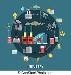 Vector illustration with industry elements - Industry...