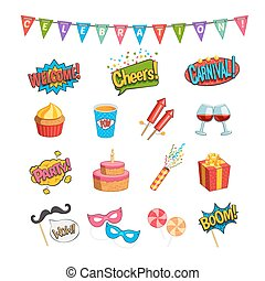 Party Comic Elements Set - Party comic elements set with...