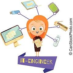 Cartoon Female Figurine Of IT Engineer - Cartoon female...