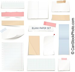 Blank Paper Sheets Strips Realistic Collection - Blank...