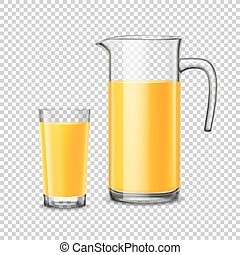 Glass And Pitcher With Orange Juice On Transparent...