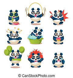 Cute Panda Emotions And Activities Collection With Humanized Cartoon Panda Character Doing Different Day-to-day Things
