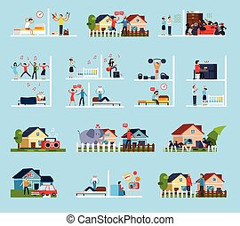 Conflicts With Neighbors Icons Set - Conflicts with...