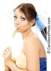 Lollipop girl sweet candy isolated