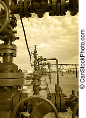 Wellhead. Concept oil and gas industry. - Wellhead with...