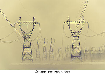 Hight voltage power transmission tower. Power supply and...