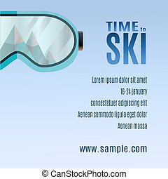 Ski Party Poster Template with Mount and sunglass.