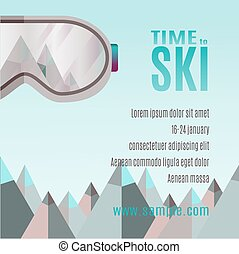 Ski Party Poster Template with Mountain and sunglass.