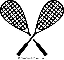 Squash crossed rackets
