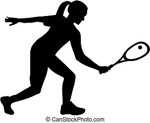 Woman playing squash silhouette