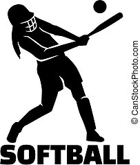 Softball silhouette with word