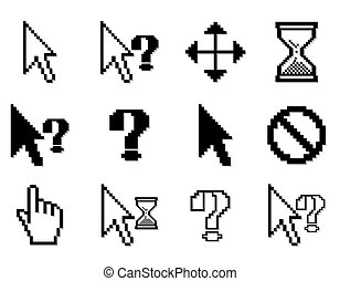 Set Pixelated graphics for internet and web design - Vector...