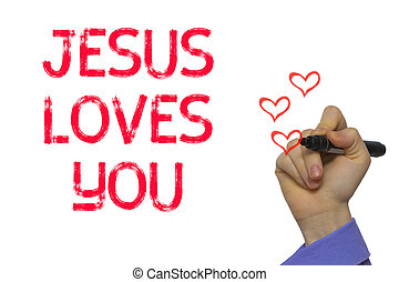 Hand with marker writing word Jesus Loves You - Hand with...