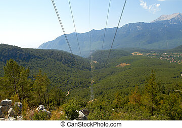 electric line in mountain - power electric line in summer...
