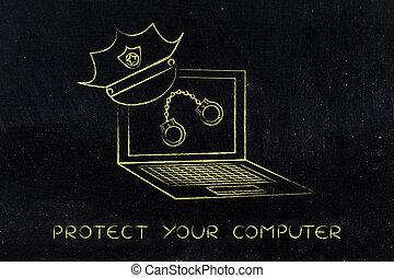 laptop with police hat & handcuffs, against piracy or cyber...