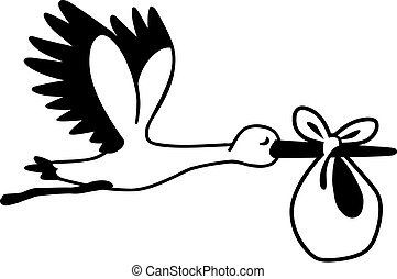 Flying cartoon stork with baby