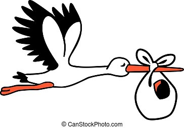 Cute stork flying with a baby bag