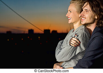 young woman and man happy smiling