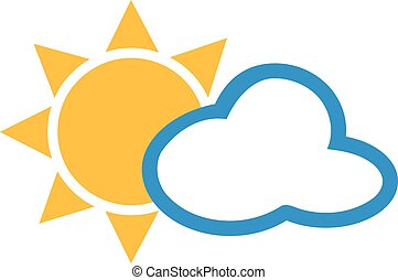 Cloudy weather with sun and cloud icon