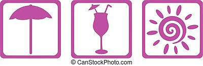 Vacation icons - parasol cocktail and sun