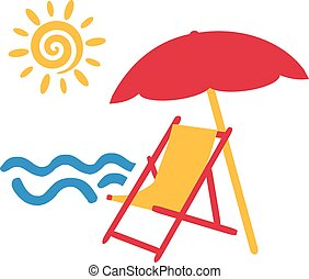 Beach chair with parasol at the sea with sun
